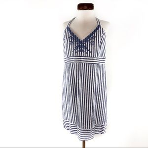 Vineyard Vines Striped Linen Halter Dress